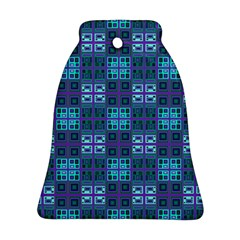 Mod Purple Green Turquoise Square Pattern Ornament (bell)
