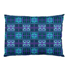 Mod Purple Green Turquoise Square Pattern Pillow Case (two Sides)