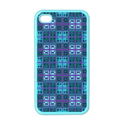 Mod Purple Green Turquoise Square Pattern Apple Iphone 4 Case (color)