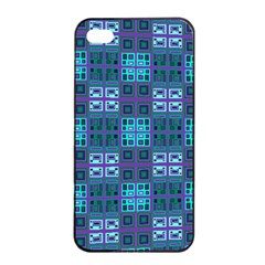 Mod Purple Green Turquoise Square Pattern Apple Iphone 4/4s Seamless Case (black)