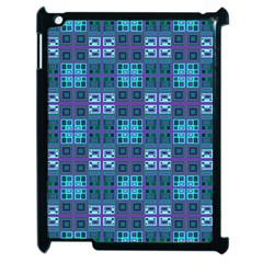 Mod Purple Green Turquoise Square Pattern Apple Ipad 2 Case (black)