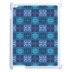 Mod Purple Green Turquoise Square Pattern Apple Ipad 2 Case (white)