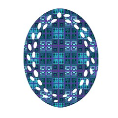 Mod Purple Green Turquoise Square Pattern Oval Filigree Ornament (two Sides)