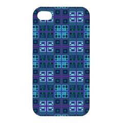 Mod Purple Green Turquoise Square Pattern Apple Iphone 4/4s Premium Hardshell Case
