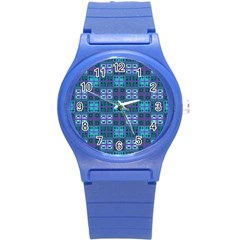 Mod Purple Green Turquoise Square Pattern Round Plastic Sport Watch (s)