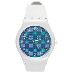 Mod Purple Green Turquoise Square Pattern Round Plastic Sport Watch (m)