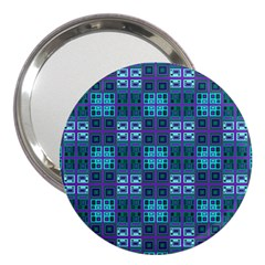 Mod Purple Green Turquoise Square Pattern 3  Handbag Mirrors by BrightVibesDesign