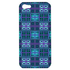 Mod Purple Green Turquoise Square Pattern Apple Iphone 5 Hardshell Case