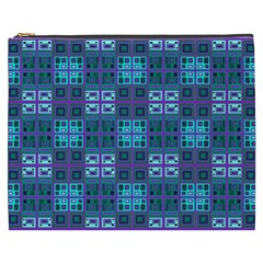 Mod Purple Green Turquoise Square Pattern Cosmetic Bag (xxxl)