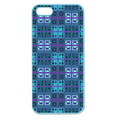Mod Purple Green Turquoise Square Pattern Apple Seamless Iphone 5 Case (color)