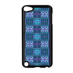 Mod Purple Green Turquoise Square Pattern Apple Ipod Touch 5 Case (black)