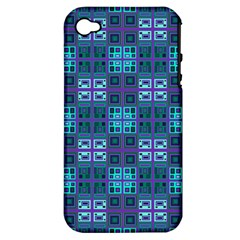Mod Purple Green Turquoise Square Pattern Apple Iphone 4/4s Hardshell Case (pc+silicone)