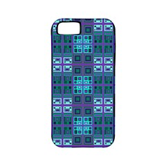 Mod Purple Green Turquoise Square Pattern Apple Iphone 5 Classic Hardshell Case (pc+silicone)