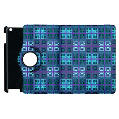 Mod Purple Green Turquoise Square Pattern Apple Ipad 2 Flip 360 Case