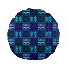 Mod Purple Green Turquoise Square Pattern Standard 15  Premium Round Cushions