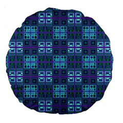 Mod Purple Green Turquoise Square Pattern Large 18  Premium Round Cushions