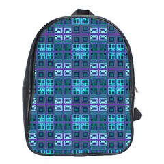 Mod Purple Green Turquoise Square Pattern School Bag (xl)