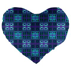 Mod Purple Green Turquoise Square Pattern Large 19  Premium Heart Shape Cushions