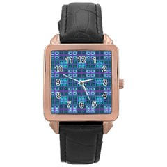 Mod Purple Green Turquoise Square Pattern Rose Gold Leather Watch
