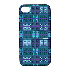 Mod Purple Green Turquoise Square Pattern Apple Iphone 4/4s Hardshell Case With Stand