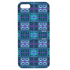 Mod Purple Green Turquoise Square Pattern Apple Iphone 5 Hardshell Case With Stand