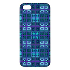 Mod Purple Green Turquoise Square Pattern Apple Iphone 5 Premium Hardshell Case
