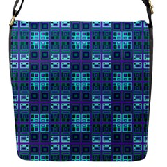 Mod Purple Green Turquoise Square Pattern Flap Closure Messenger Bag (s)