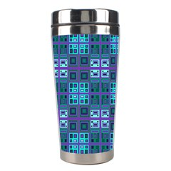 Mod Purple Green Turquoise Square Pattern Stainless Steel Travel Tumblers