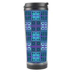 Mod Purple Green Turquoise Square Pattern Travel Tumbler