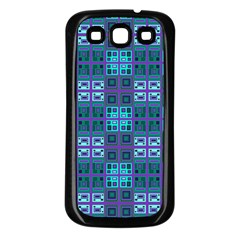 Mod Purple Green Turquoise Square Pattern Samsung Galaxy S3 Back Case (black)