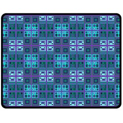 Mod Purple Green Turquoise Square Pattern Double Sided Fleece Blanket (medium)