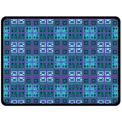 Mod Purple Green Turquoise Square Pattern Double Sided Fleece Blanket (large)