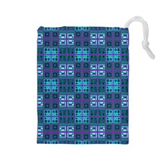 Mod Purple Green Turquoise Square Pattern Drawstring Pouch (large)