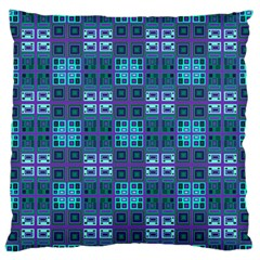 Mod Purple Green Turquoise Square Pattern Large Flano Cushion Case (two Sides)