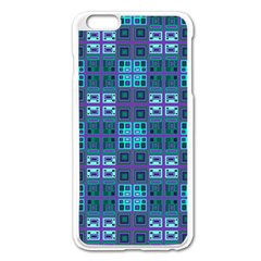 Mod Purple Green Turquoise Square Pattern Apple Iphone 6 Plus/6s Plus Enamel White Case
