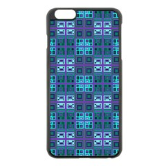 Mod Purple Green Turquoise Square Pattern Apple Iphone 6 Plus/6s Plus Black Enamel Case by BrightVibesDesign
