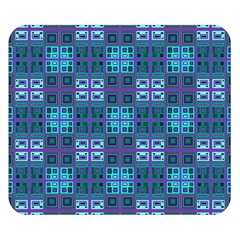 Mod Purple Green Turquoise Square Pattern Double Sided Flano Blanket (small)