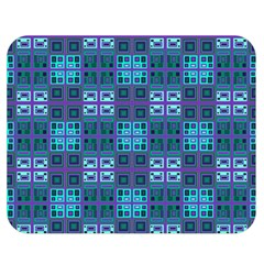 Mod Purple Green Turquoise Square Pattern Double Sided Flano Blanket (medium)