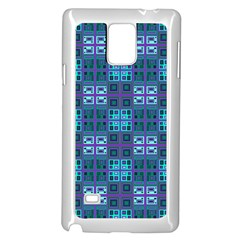 Mod Purple Green Turquoise Square Pattern Samsung Galaxy Note 4 Case (white)