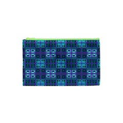 Mod Purple Green Turquoise Square Pattern Cosmetic Bag (xs)