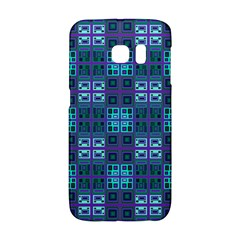 Mod Purple Green Turquoise Square Pattern Samsung Galaxy S6 Edge Hardshell Case