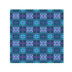 Mod Purple Green Turquoise Square Pattern Small Satin Scarf (square)