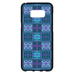 Mod Purple Green Turquoise Square Pattern Samsung Galaxy S8 Plus Black Seamless Case