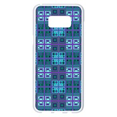 Mod Purple Green Turquoise Square Pattern Samsung Galaxy S8 Plus White Seamless Case