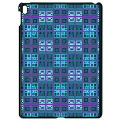 Mod Purple Green Turquoise Square Pattern Apple Ipad Pro 9 7   Black Seamless Case
