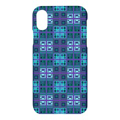 Mod Purple Green Turquoise Square Pattern Apple Iphone X Hardshell Case