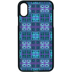 Mod Purple Green Turquoise Square Pattern Apple Iphone X Seamless Case (black)