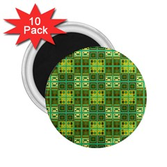 Mod Yellow Green Squares Pattern 2 25  Magnets (10 Pack)