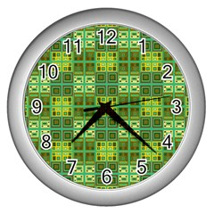 Mod Yellow Green Squares Pattern Wall Clock (silver)