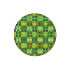 Mod Yellow Green Squares Pattern Magnet 3  (round)